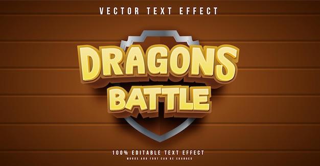 Effet De Texte Modifiable Dans Le Style De Bataille De Dragons Vecteur Premium