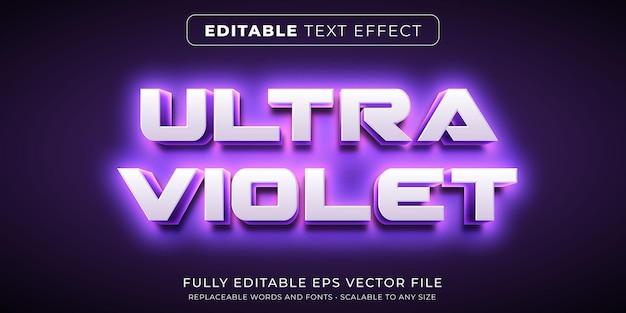 Effet de texte modifiable dans un style néon ultraviolet intense