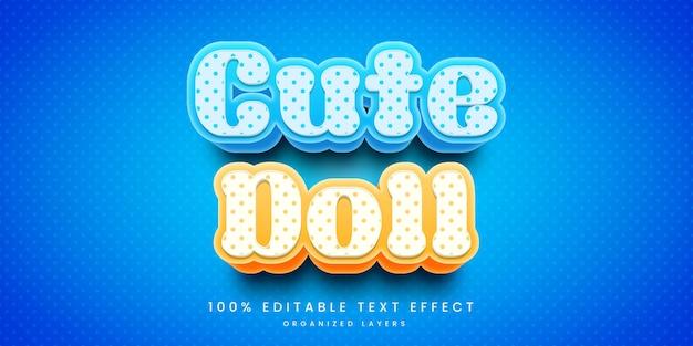 Effet de texte modifiable dans un style de poupée mignonne