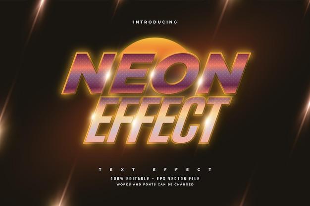Effet de texte modifiable dans un style rétro avec effet néon orange brillant