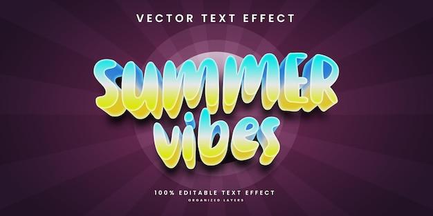 Effet de texte modifiable dans le style des vibrations estivales vecteur premium