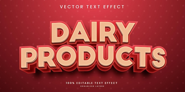 Effet de texte modifiable dans le vecteur premium de style produits laitiers