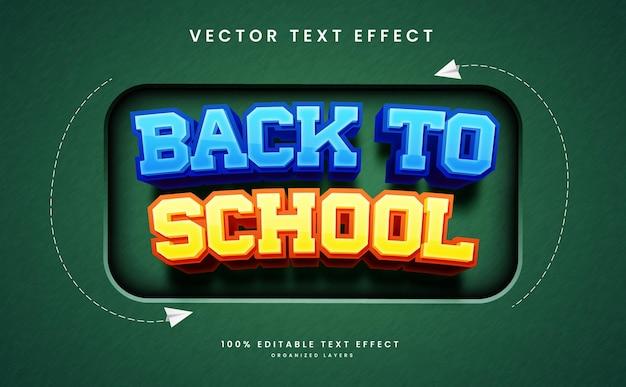 Effet de texte modifiable dans le vecteur premium de style retour à l'école