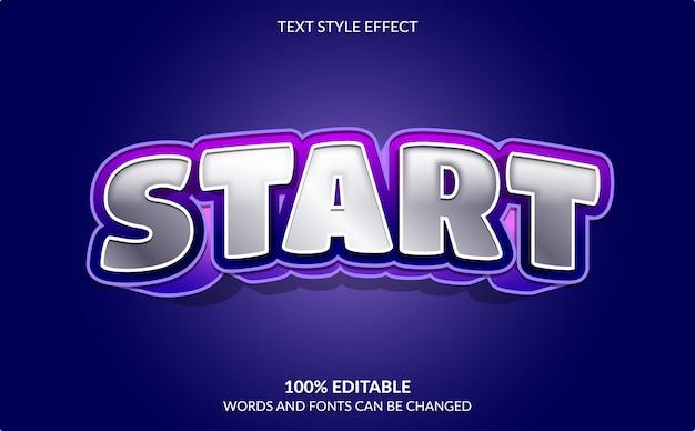 Effet de texte modifiable, début, style de texte de jeu vidéo