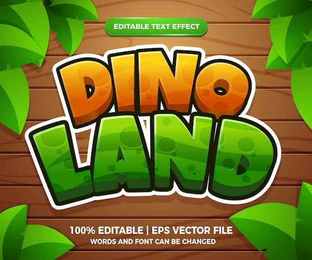 Effet de texte modifiable de dessin animé 3d dino land