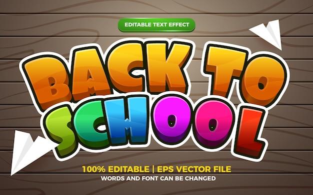 Effet de texte modifiable de dessin animé 3d de retour à l'école