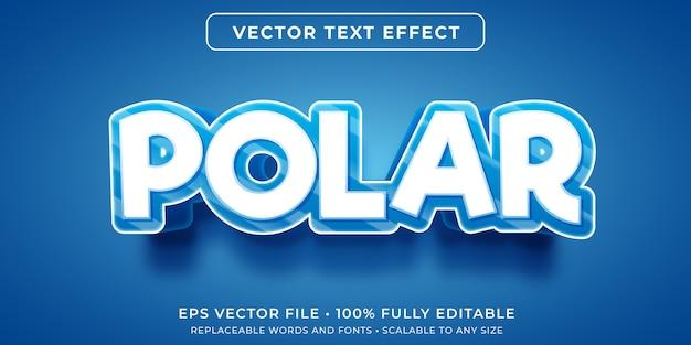 Effet de texte modifiable de dessin animé de glace polaire