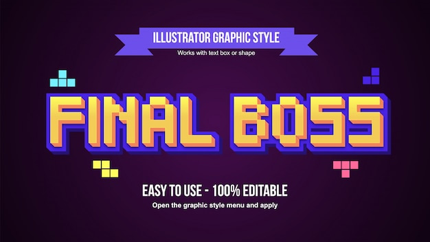 Effet de texte modifiable de dessin animé de style pixel jaune et violet