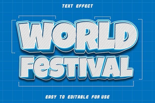 Effet de texte modifiable du festival du monde en relief dans un style moderne