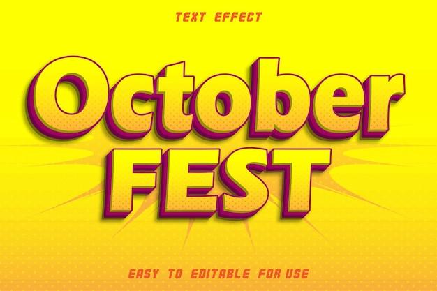 Effet de texte modifiable du festival d'octobre en relief style bande dessinée