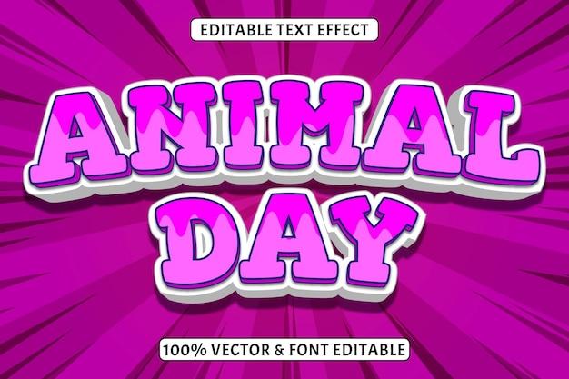 Effet de texte modifiable du jour des animaux 3 dimensions gaufrer le style comique