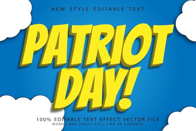 L'effet de texte modifiable du jour du patriote gaufrent le style moderne