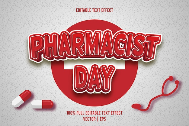 Effet de texte modifiable du jour du pharmacien