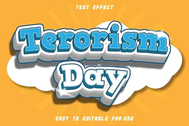 Effet de texte modifiable du jour du terrorisme
