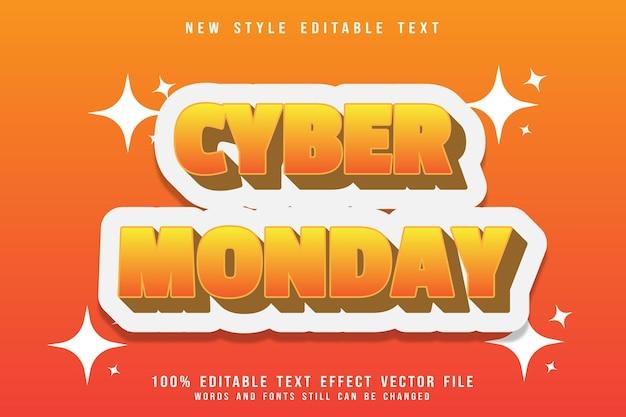 Effet de texte modifiable du lundi en relief de style moderne