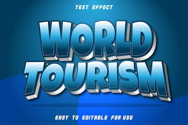 Effet de texte modifiable du tourisme mondial en relief dans le style moderne