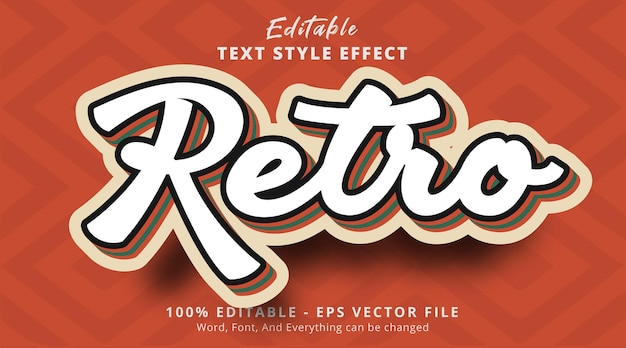 Effet de texte modifiable effet de texte multicolore vintage rétro