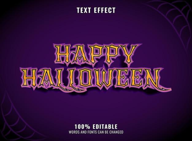 Effet de texte modifiable effrayant violet joyeux halloween