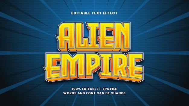 Effet de texte modifiable de l'empire extraterrestre dans un style 3d moderne