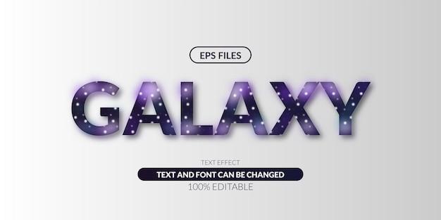 Effet de texte modifiable de l'espace de l'univers de la galaxie propre.