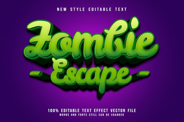 Effet de texte modifiable d'évasion de zombie style de dessin animé en relief en 3 dimensions