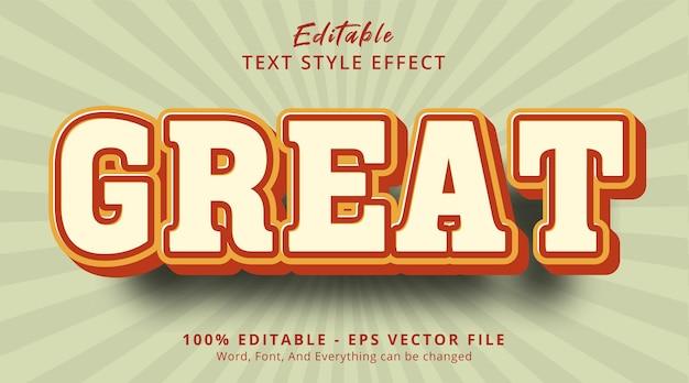 Effet de texte modifiable, excellent texte sur l'effet de style de couleur vintage