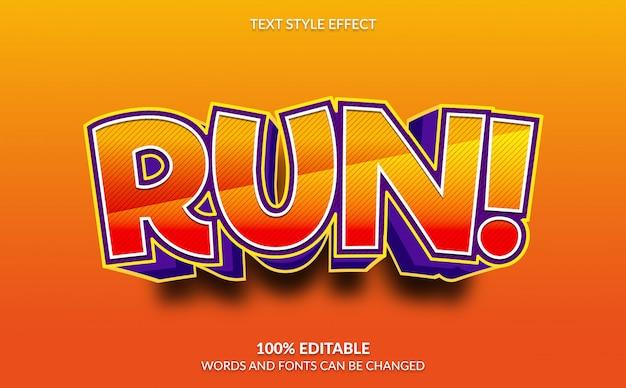 Effet de texte modifiable, exécutez avec un style de texte comique