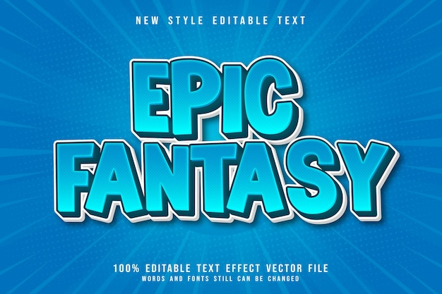 Effet de texte modifiable de fantaisie épique style comique de dessin animé en relief en 3 dimensions