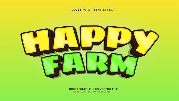 Effet de texte modifiable de la ferme heureuse