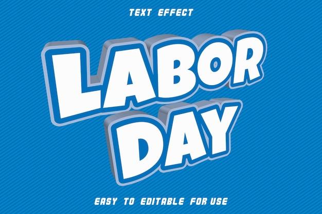 Effet de texte modifiable de la fête du travail en relief dans un style moderne