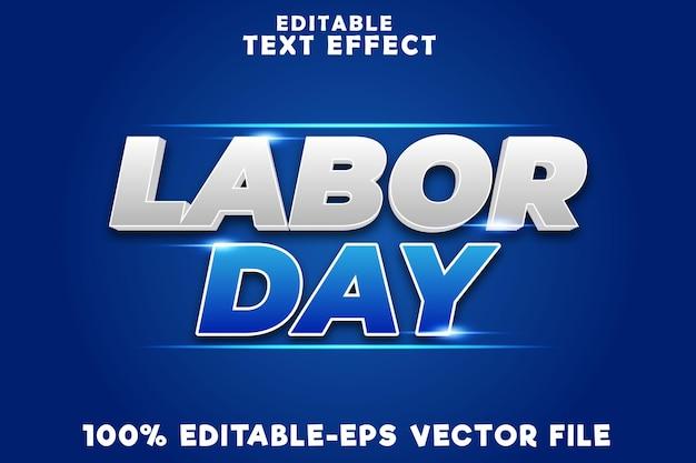 Effet de texte modifiable fête du travail avec style moderne de la fête du travail