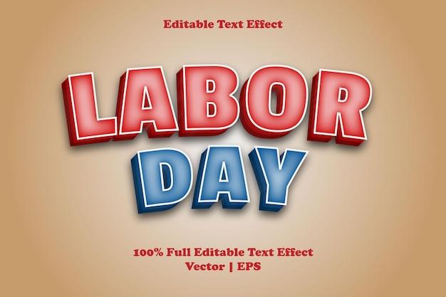 Effet de texte modifiable de la fête du travail