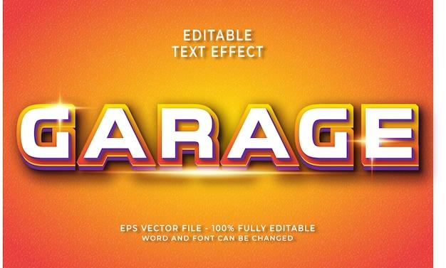 Effet de texte modifiable de garage