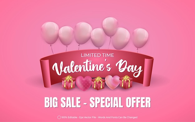 Effet de texte modifiable, grande vente de la saint-valentin avec des ballons et des illustrations de style cadeau