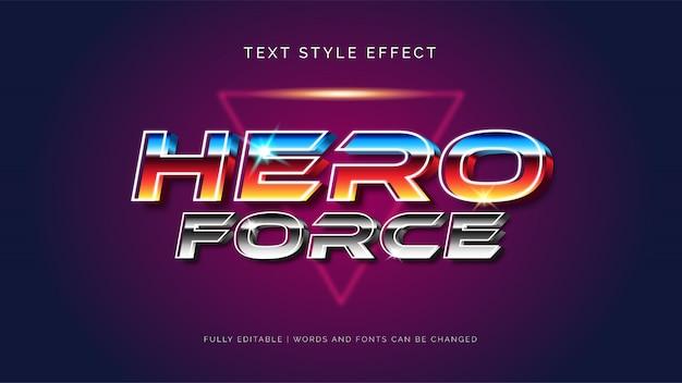 Effet de texte modifiable. hero force l'effet de style de texte 3d.