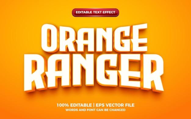 Effet de texte modifiable de héros de dessin animé 3d orange ranger or