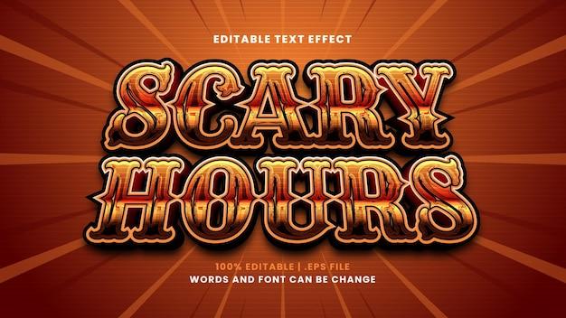 Effet de texte modifiable d'heures effrayantes dans un style 3d moderne
