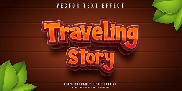 Effet de texte modifiable d'histoire de voyage