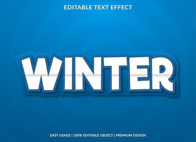 Effet de texte modifiable d'hiver avec un style moderne et abstrait