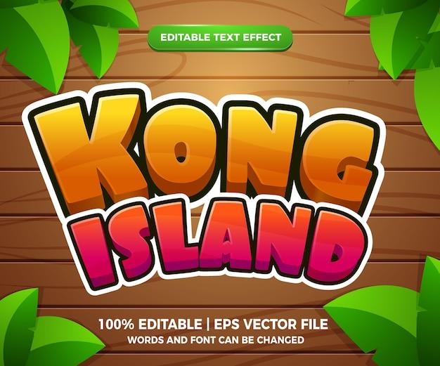 Effet de texte modifiable de l'île de kong style de modèle de jeu de dessin animé 3d