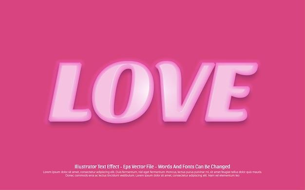Effet de texte modifiable, illustrations de style d'amour