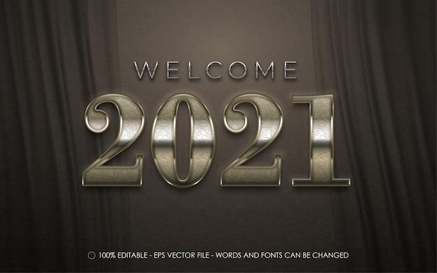 Effet de texte modifiable, illustrations de style bienvenue nouvel an