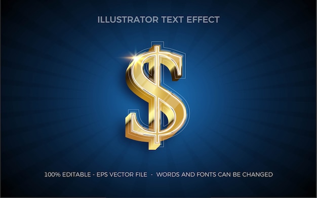 Effet de texte modifiable, illustrations de style dollar américain