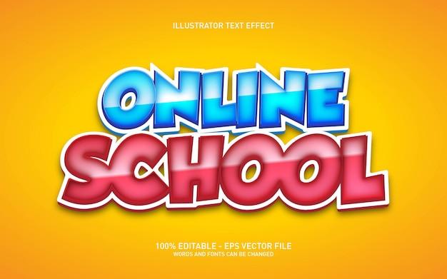 Effet de texte modifiable, illustrations de style école en ligne