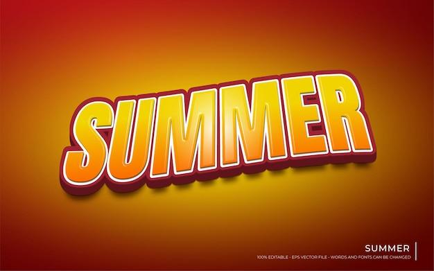 Effet de texte modifiable, illustrations de style d'été