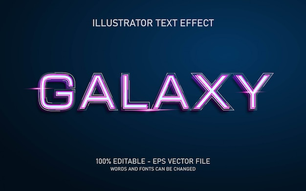 Effet de texte modifiable, illustrations de style galaxy