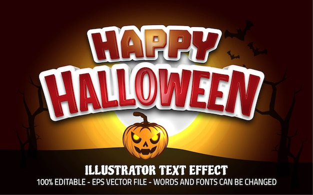 Effet de texte modifiable, illustrations de style halloween heureux