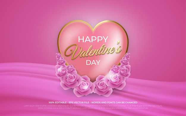 Effet de texte modifiable, illustrations de style happy valentine's day gold