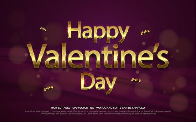 Effet de texte modifiable, illustrations de style happy valentine's day gold