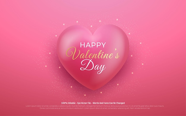Effet de texte modifiable, illustrations de style happy valentine's day love